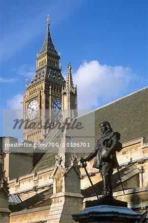 Oliver Cromwell Statue and Houses of Parliament London, England Stock Photo - Rights-Managed, Image code: 700-00196701