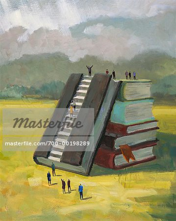 People Climbing Stack of Books