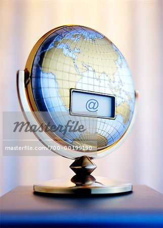 LCD Screen on Globe with At Symbol Stock Photo - Rights-Managed, Image code: 700-00199190