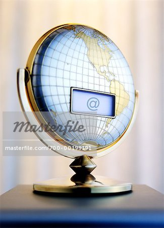 LCD Screen on Globe with At Symbol Stock Photo - Rights-Managed, Image code: 700-00199191