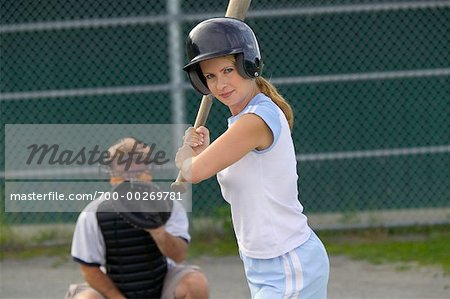 Woman Playing Baseball    Stock Photo - Premium Rights-Managed, Artist: Peter Barrett, Code: 700-00269781