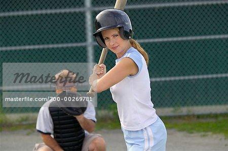 Woman Playing Baseball