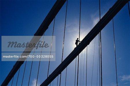 Workman on Suspension Bridge Stock Photo - Rights-Managed, Image code: 700-00328055