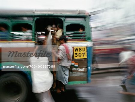 People on Bus Calcutta, India Stock Photo - Rights-Managed, Image code: 700-00357089