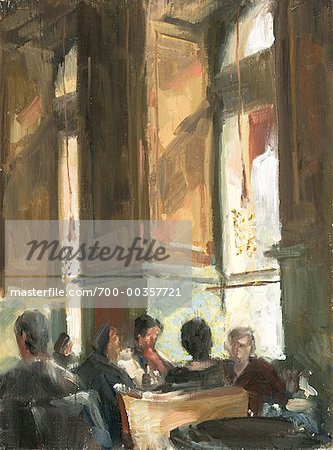 Illustration of People in Cafe Vienna, Austria
