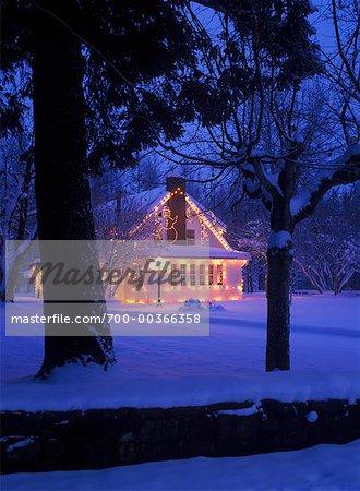 Christmas Lights on House, Kimberley, British Columbia, Canada
