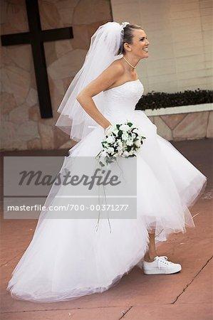 Bride Wearing Running Shoes