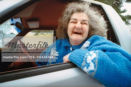 Woman Driving a Truck