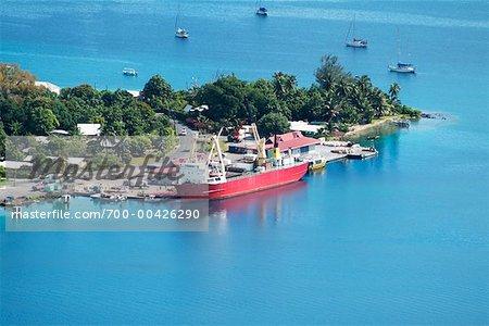 Cargo Ship in Bora Bora Lagoon, Bora Bora, French Polynesia