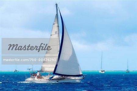 People Sailing, Tahaa, French Polynesia