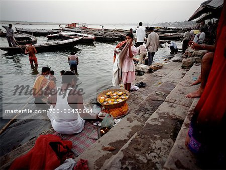 People at the Banks of the Ganges River, Varanasi, India Stock Photo - Rights-Managed, Image code: 700-00430664