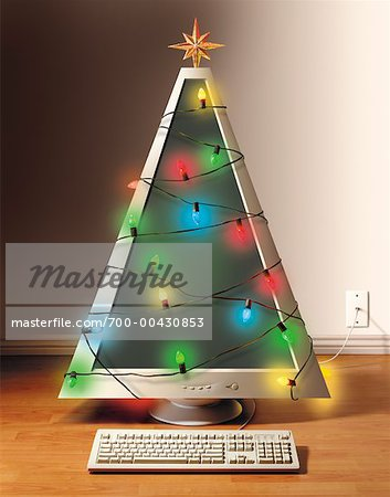Christmas Tree Shaped Computer With String of Lights - Stock Photo ...