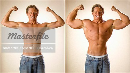 Before and After Shot of Muscle Man Stock Photo - Rights-Managed, Image code: 700-00476624