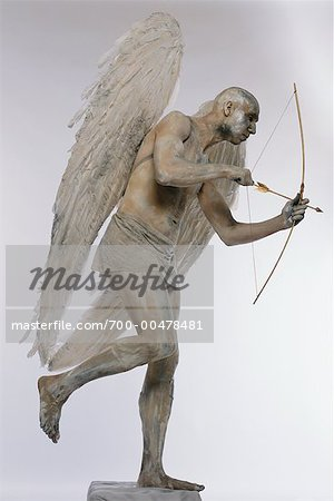 Man Posing as Angel with Bow and Arrow Stock Photo - Rights-Managed, Image code: 700-00478481