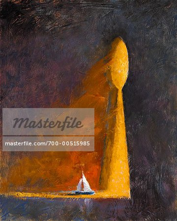 Sailboat Drifting Through Giant Keyhole