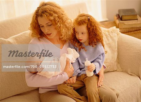Mother Feeding Baby with Daughter Stock Photo - Rights-Managed, Image code: 700-00517733