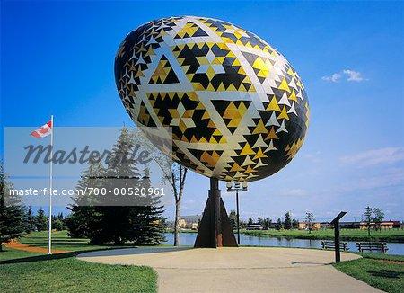 The Pysanka, Giant Easter Egg, Vegreville, Alberta, Canada    Stock Photo - Premium Rights-Managed, Artist: Daryl Benson, Code: 700-00520961