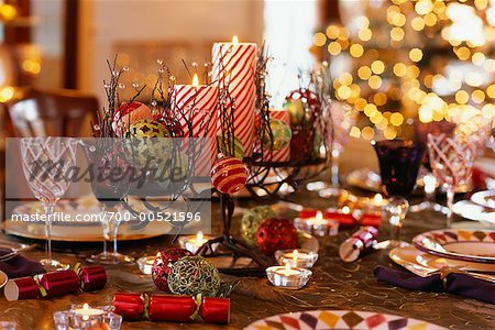 Table Set For Christmas Dinner table set for christmas dinner - stock photo - masterfile - rights