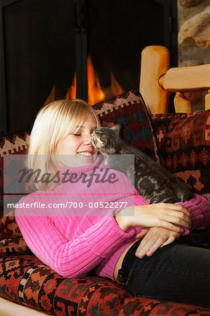 Teenage Girl With Kitten, British Columbia, Canada Stock Photo - Rights-Managed, Image code: 700-00522277