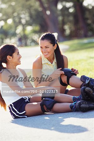 Mother and Daughter Rollerblading