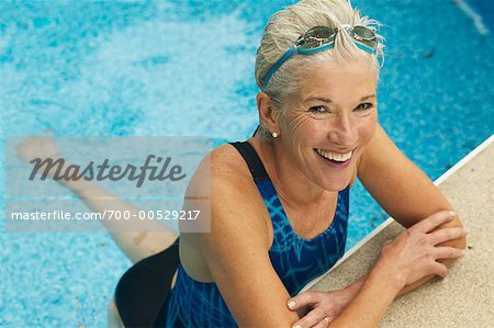 Image Gallery Old Lady Swimming