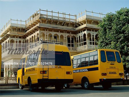 School Busses Outside Palace, Jaipur, Rajasthan, India Stock Photo - Rights-Managed, Image code: 700-00529476