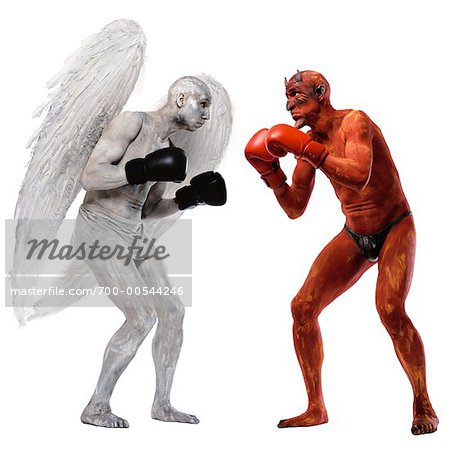 Angel and Devil Boxing Stock Photo - Rights-Managed, Image code: 700-00544246