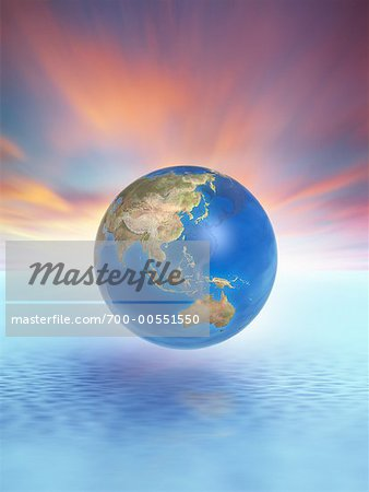 Globe Floating Above Water Stock Photo - Rights-Managed, Image code: 700-00551550
