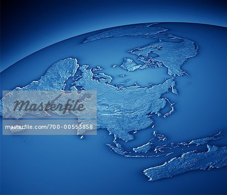 World Map Showing Asia and Pacific Rim Stock Photo - Rights-Managed, Image code: 700-00553858