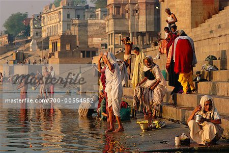 Pilgrims on the Ganges River, Varanasi, Uttar Pradesh, India Stock Photo - Rights-Managed, Image code: 700-00554552