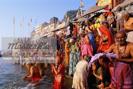 Pilgrims on the Ganges River, Varanasi, Uttar Pradesh, India Stock Photo - Rights-Managed, Image code: 700-00554558