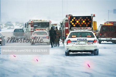 Accident Scene, Gardener Expressway, Toronto, Ontario, Canada Stock Photo - Rights-Managed, Image code: 700-00557680