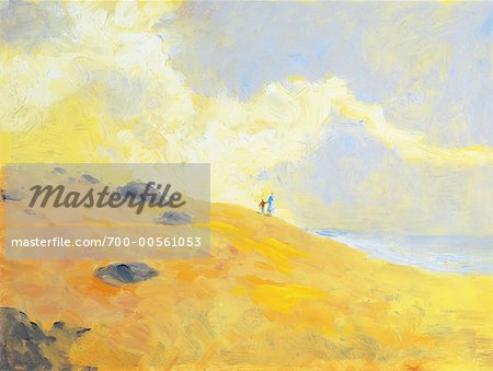 Illustration of Mother and Child Walking by Ocean
