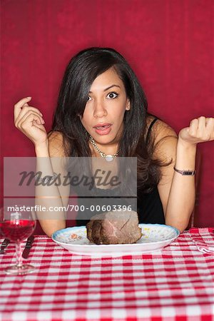 Woman at Restaurant With Plate of Beef Stock Photo - Rights-Managed, Image code: 700-00603396