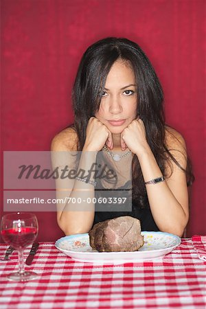 Woman at Restaurant With Plate of Beef Stock Photo - Rights-Managed, Image code: 700-00603397