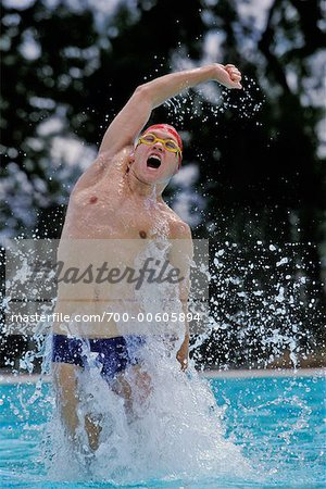 Swimmer Cheering Stock Photo - Rights-Managed, Image code: 700-00605894
