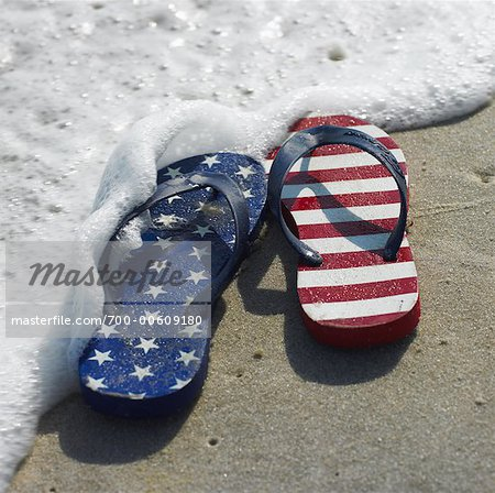 Flip Flops with American Flag