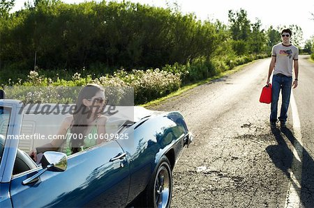 Woman in Stalled Car Waiting for Man Stock Photo - Rights-Managed, Image code: 700-00609425