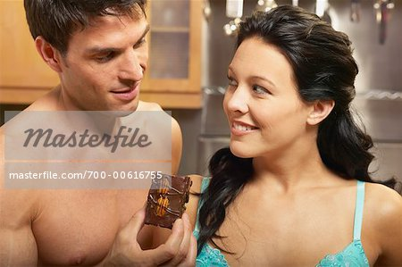 Portrait of Couple with Brownie Stock Photo - Rights-Managed, Image code: 700-00616755