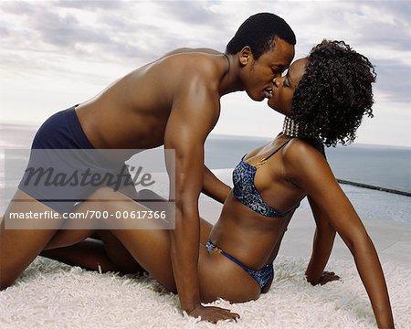 Couple in Underwear, Kissing
