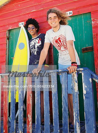 Friends by Beach Hut with Surfboard Stock Photo - Rights-Managed, Image code: 700-00623334