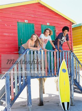 Friends at Beach Hut Stock Photo - Rights-Managed, Image code: 700-00623335