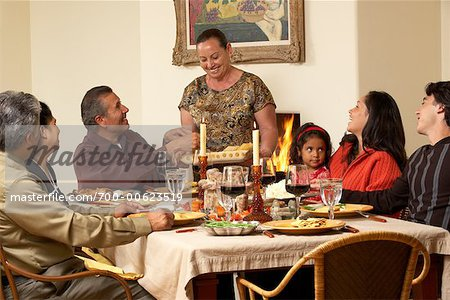 Family at Thanksgiving Dinner Stock Photo - Rights-Managed, Image code: 700-00623519