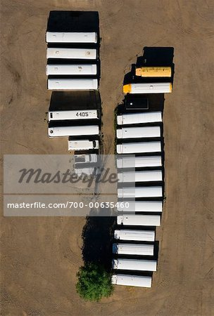 Aerial View of Buses and Trucks at Parking Lot Stock Photo - Rights-Managed, Image code: 700-00635460