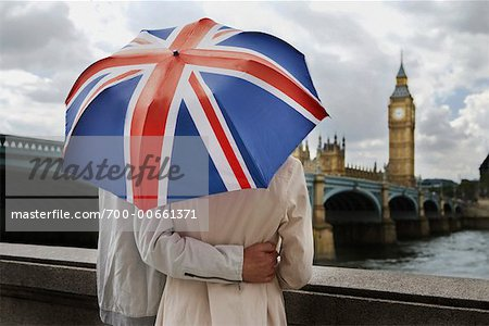 Couple With Umbrella, London, England Stock Photo - Rights-Managed, Image code: 700-00661371