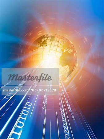 Wire Frame Globe and Binary Stock Photo - Rights-Managed, Image code: 700-00712078