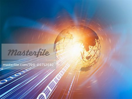 Wire Frame Globe and Binary Stock Photo - Rights-Managed, Image code: 700-00712082