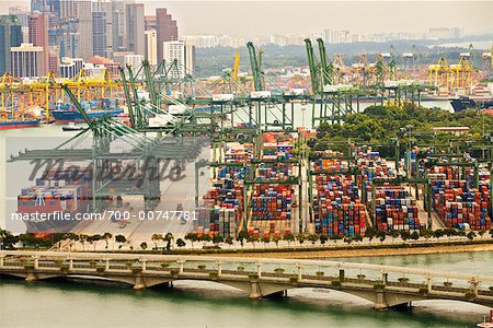 Container Terminal, Singapore    Stock Photo - Premium Rights-Managed, Artist: R. Ian Lloyd, Code: 700-00747781