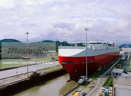 Cargo Ship in Miraflores Locks, Panama Canal, Panama