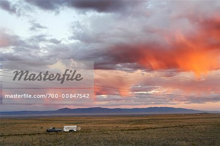 Pickup Truck With Horse Trailer At Dusk, Albuquerque, New Mexico, USA Stock Photo - Rights-Managed, Image code: 700-00847542